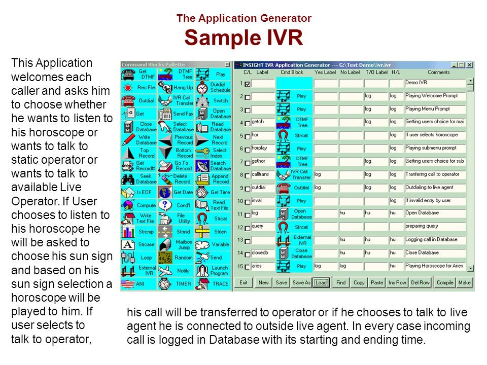 The Application Generator Sample IVR