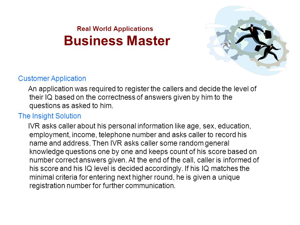 Real World Applications Business Master