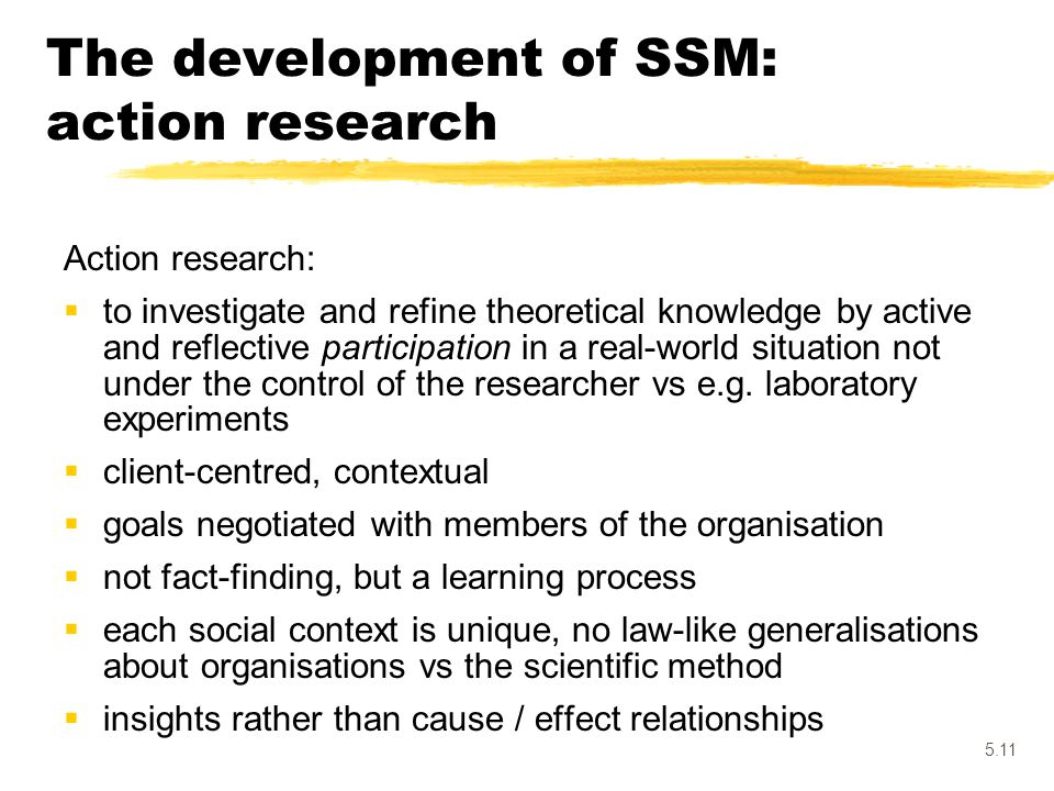 The development of SSM: action research