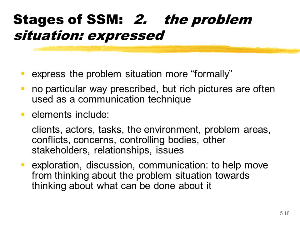 Stages of SSM: 2. the problem situation: expressed