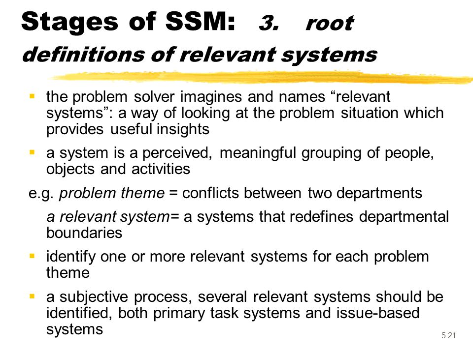 Stages of SSM: 3. root definitions of relevant systems