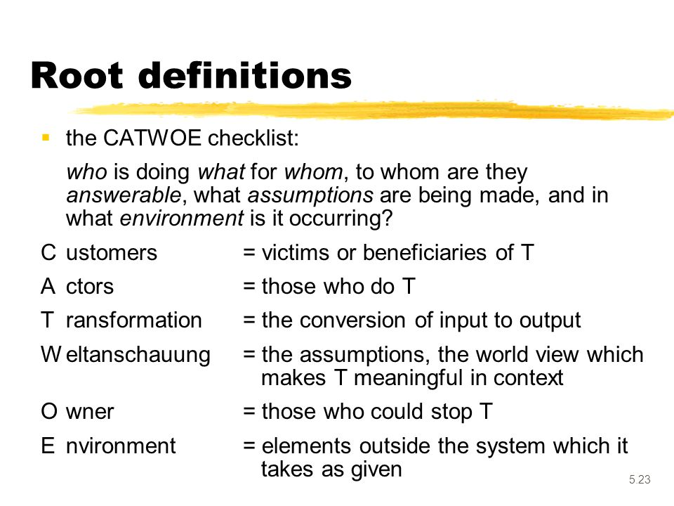 Root definitions the CATWOE checklist: