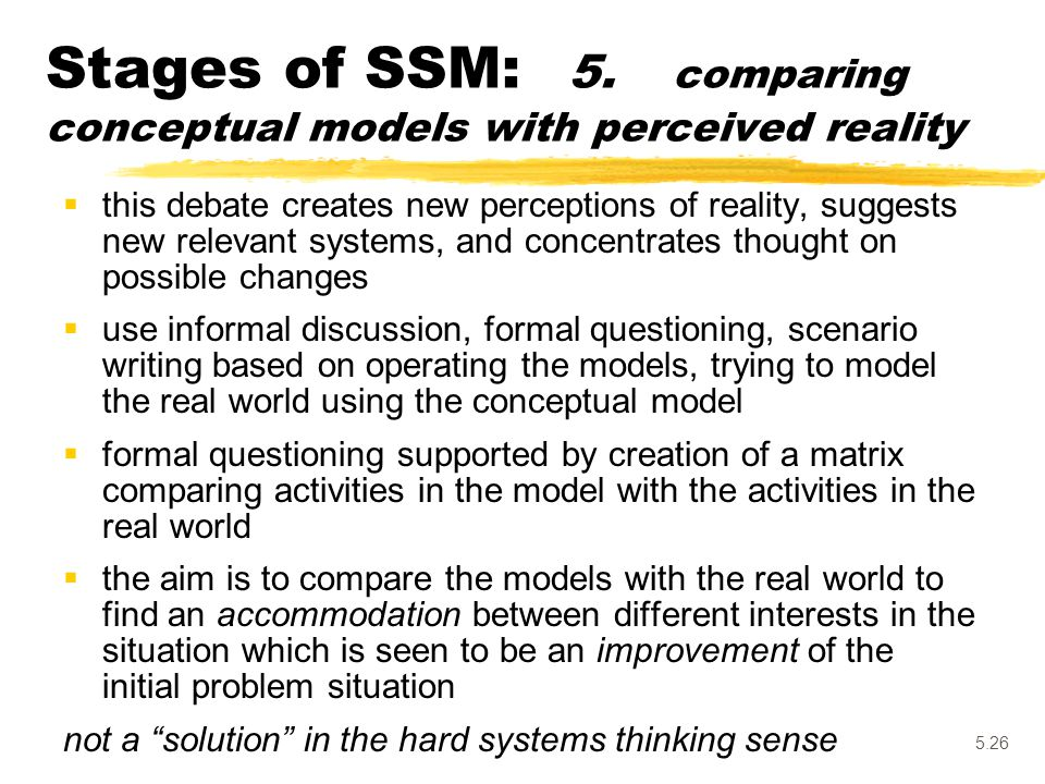 Stages of SSM: 5. comparing conceptual models with perceived reality