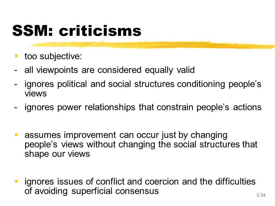 SSM: criticisms too subjective: