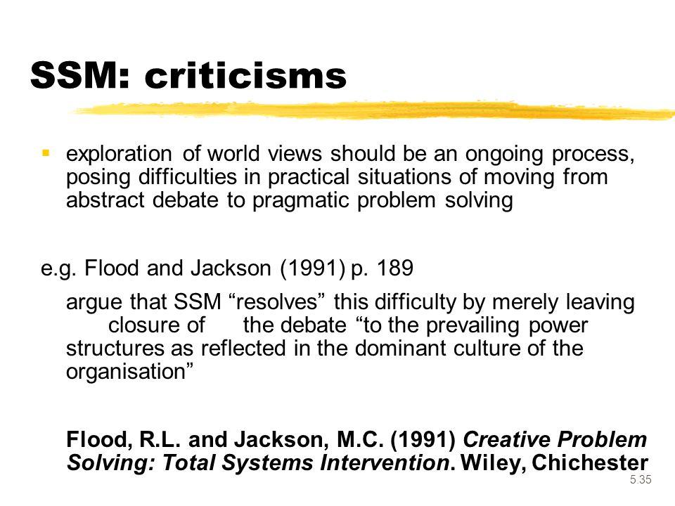 SSM: criticisms