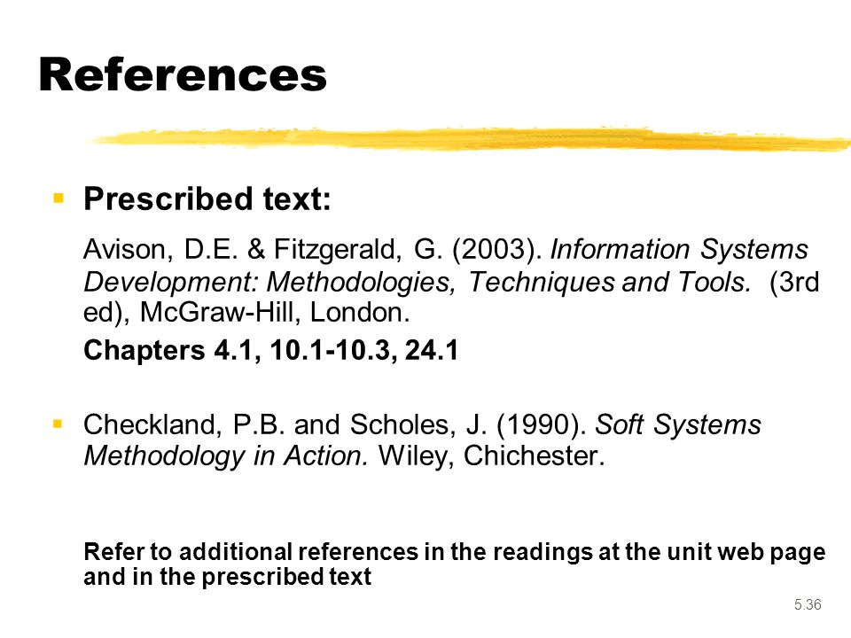 References Prescribed text: