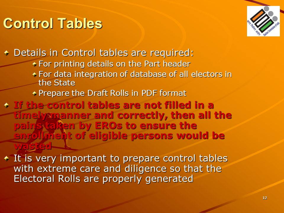 Control Tables Details in Control tables are required: