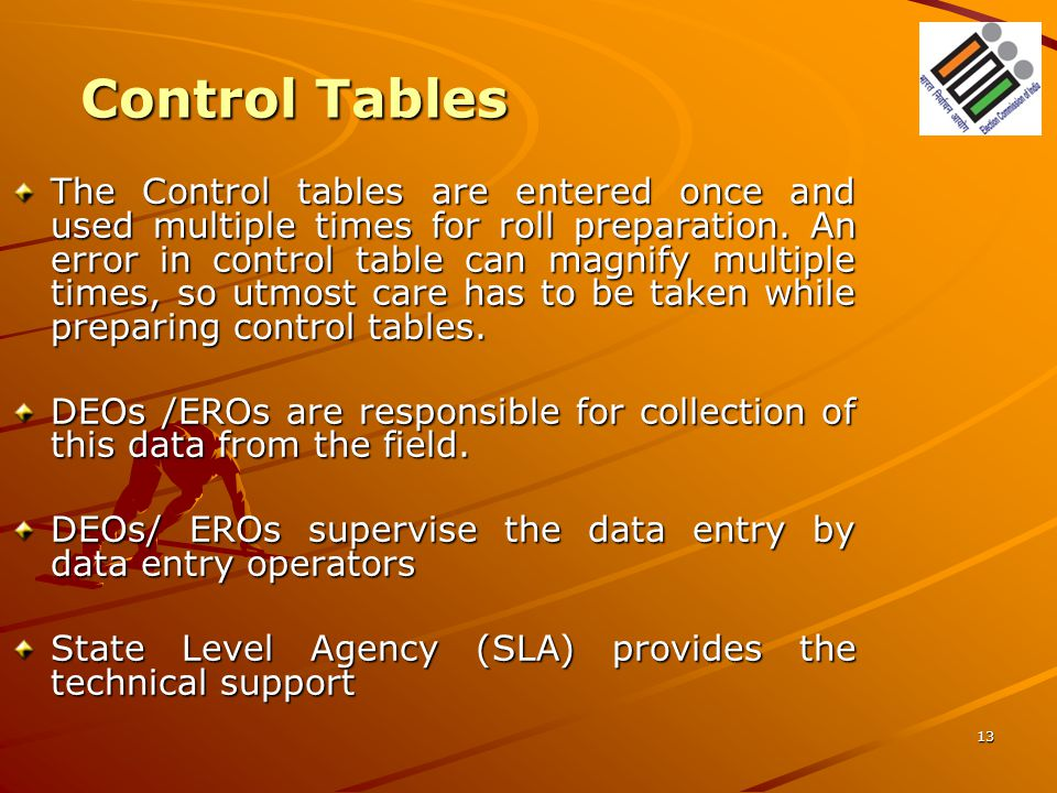 Control Tables