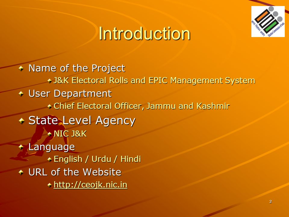 Introduction State Level Agency Name of the Project User Department