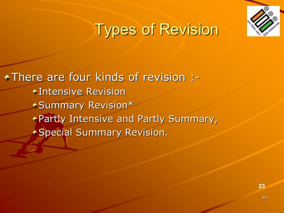 Types of Revision There are four kinds of revision :-