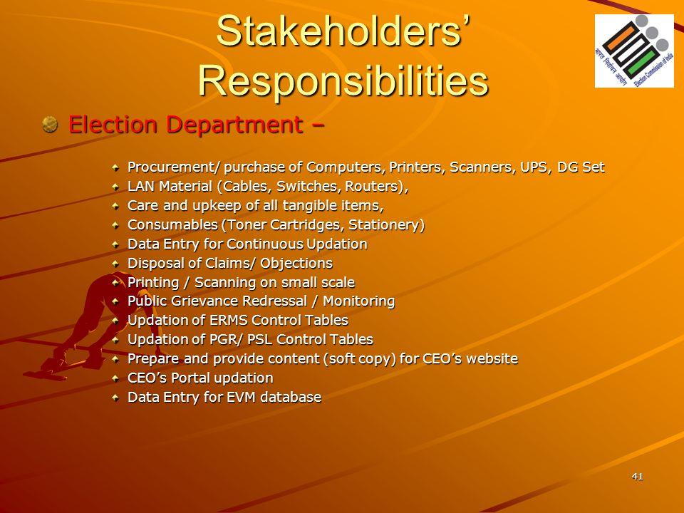 Stakeholders' Responsibilities