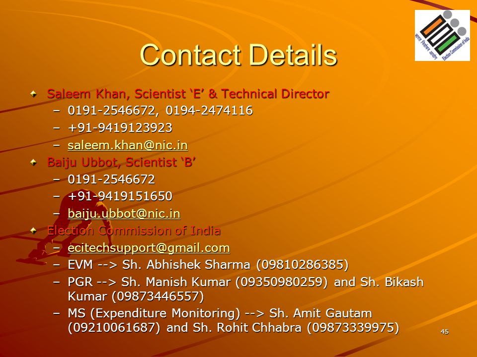 Contact Details Saleem Khan, Scientist 'E' & Technical Director