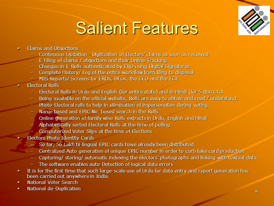Salient Features Claims and Objections