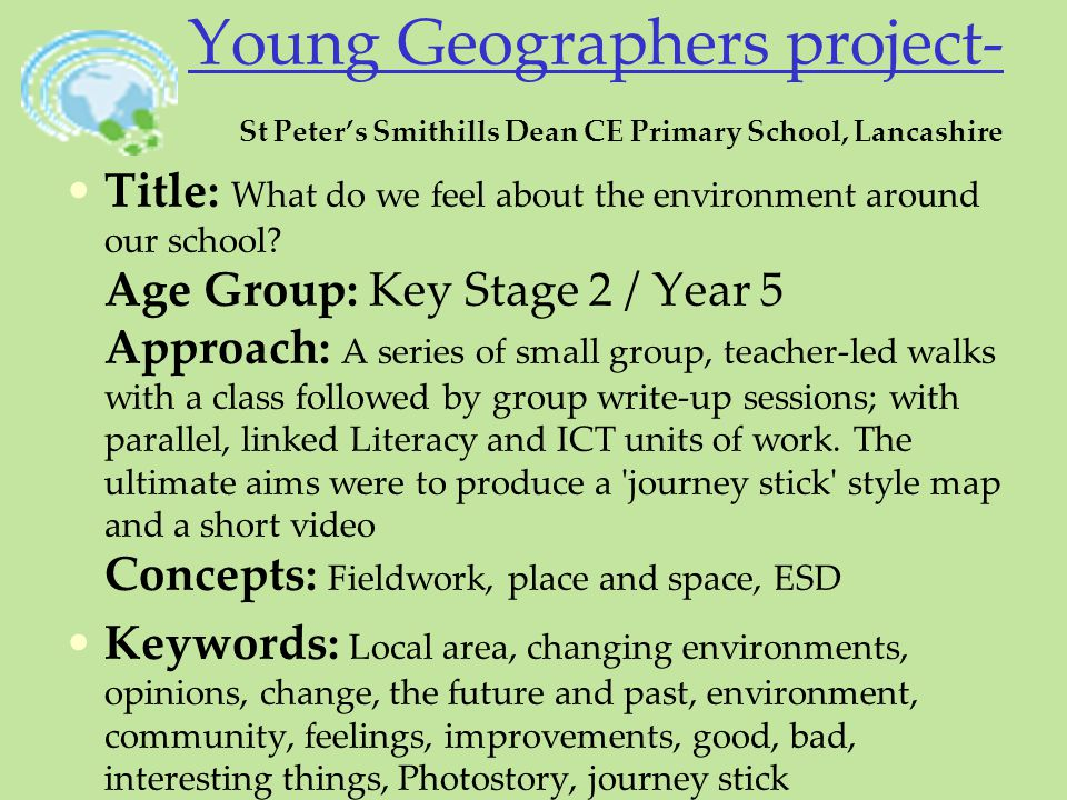 Young Geographers project- St Peter's Smithills Dean CE Primary School, Lancashire