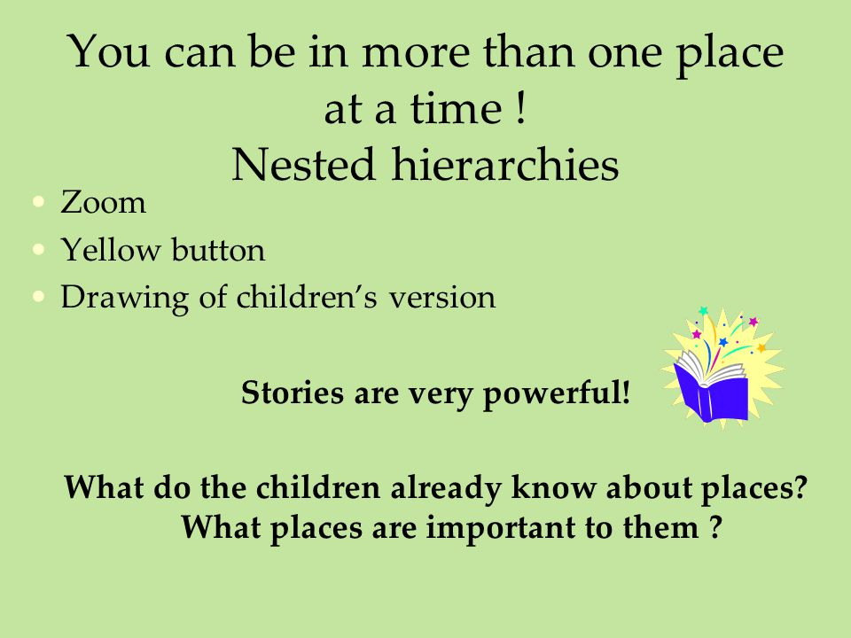 You can be in more than one place at a time ! Nested hierarchies