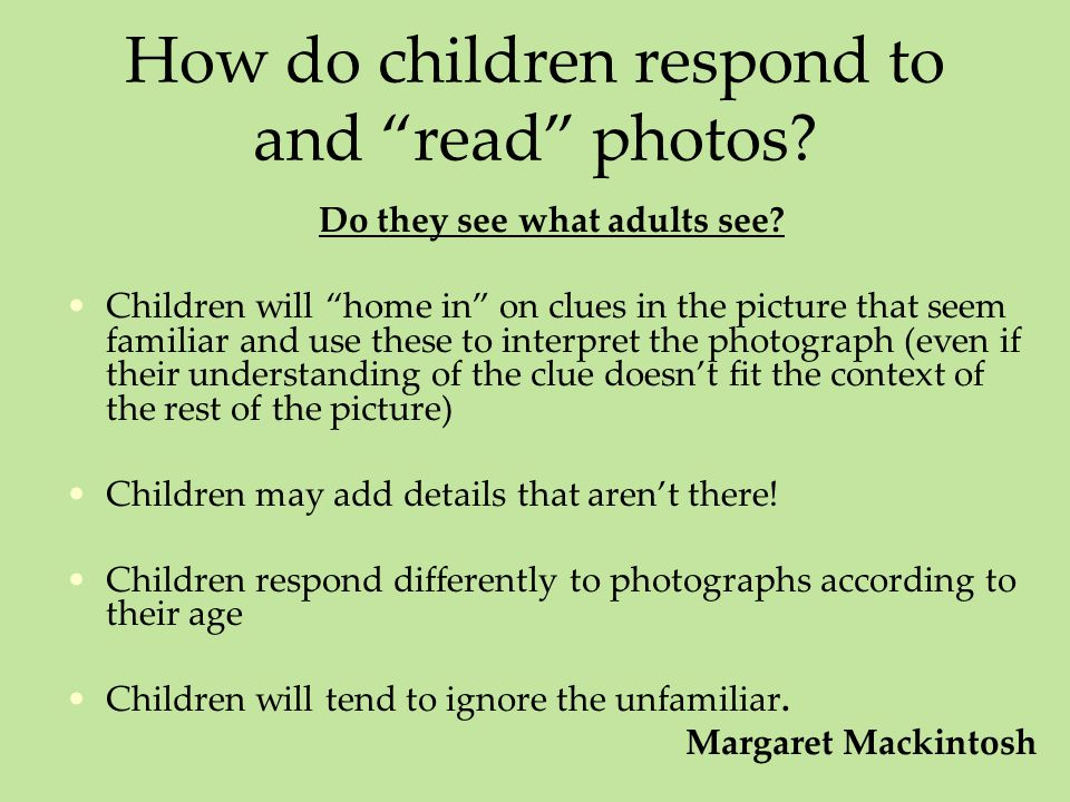 How do children respond to and read photos