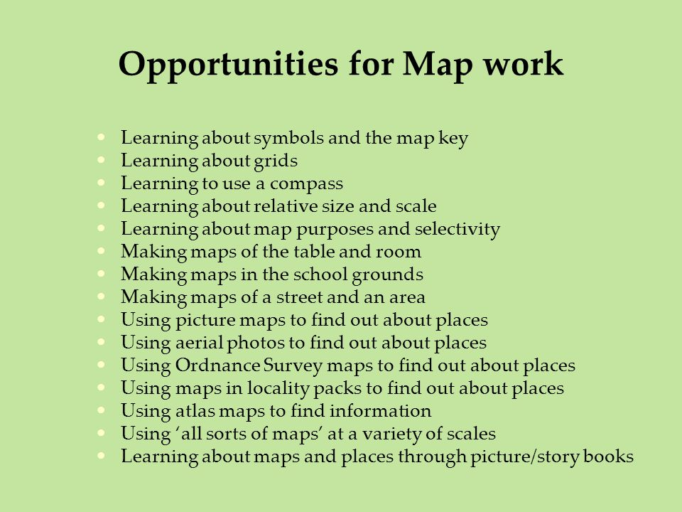 Opportunities for Map work