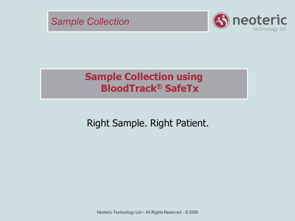 Sample Collection using BloodTrack® SafeTx