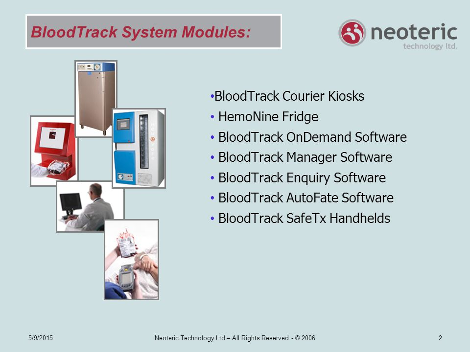 BloodTrack System Modules: