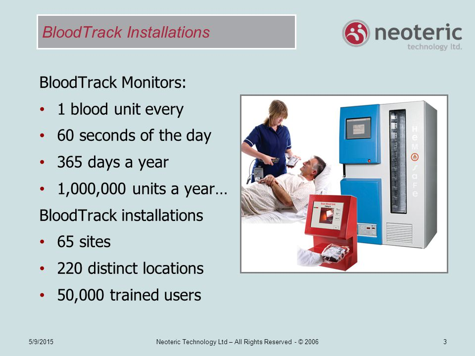 BloodTrack Installations