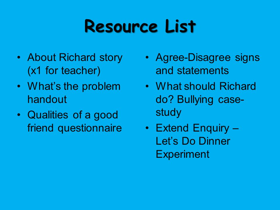 Resource List About Richard story (x1 for teacher)