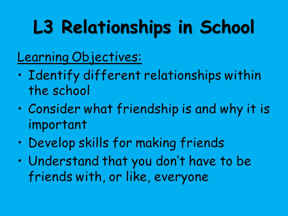 L3 Relationships in School