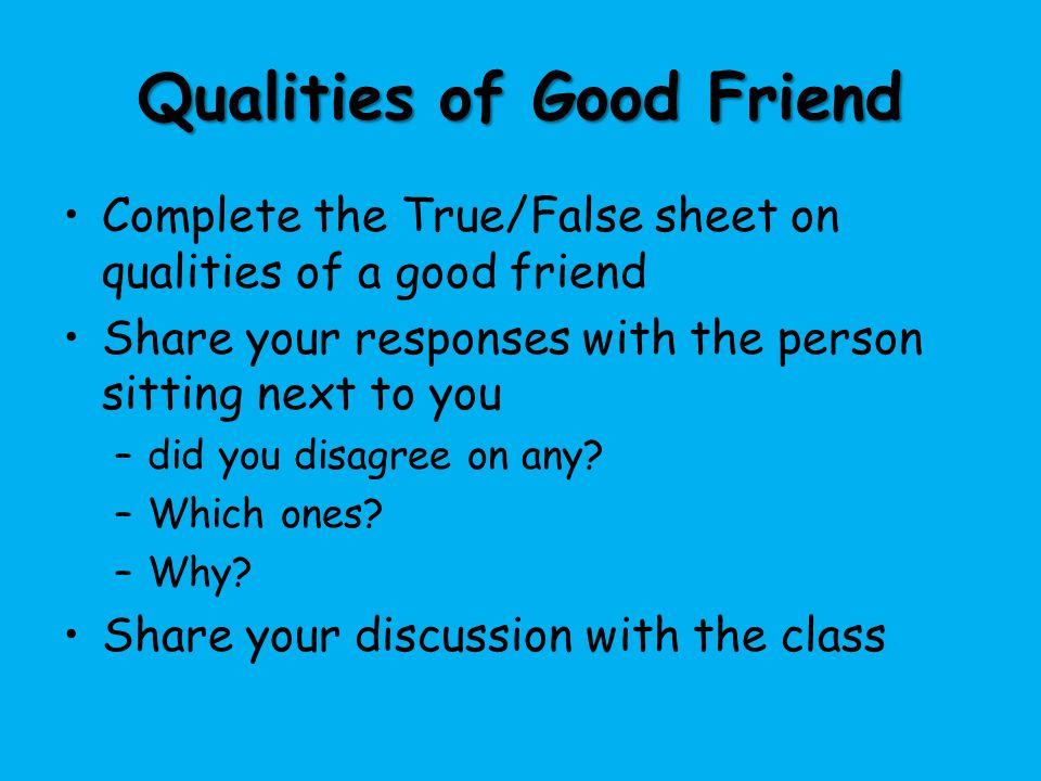Qualities of Good Friend
