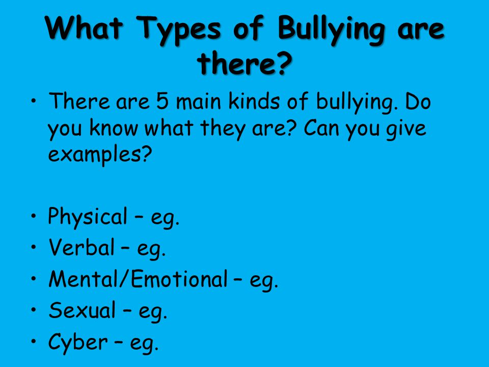 What Types of Bullying are there
