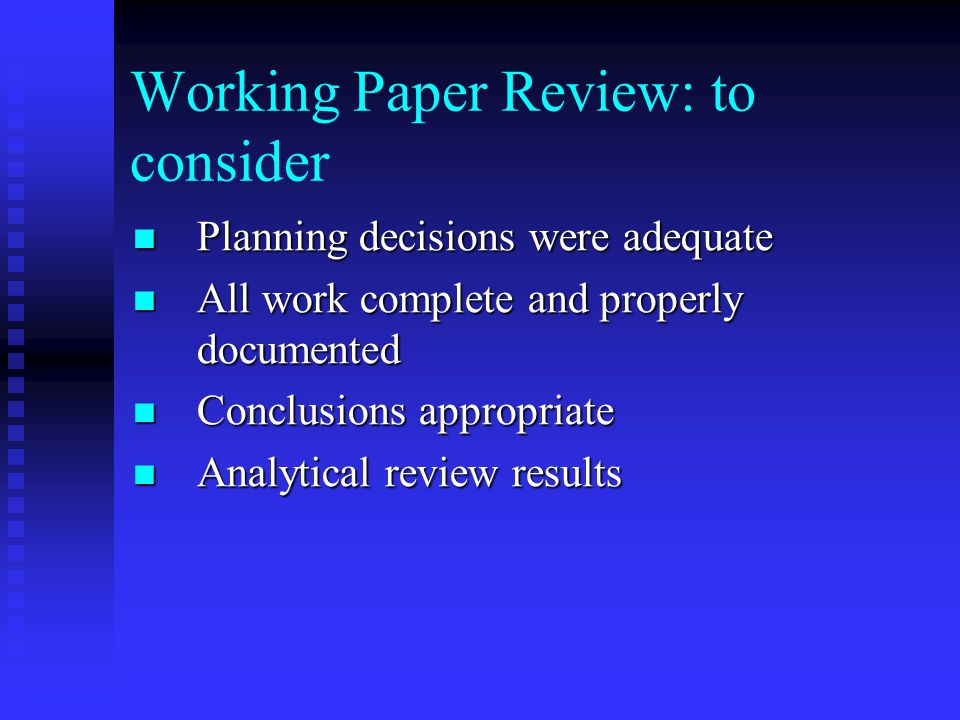 Working Paper Review: to consider