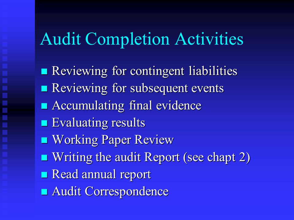 Audit Completion Activities