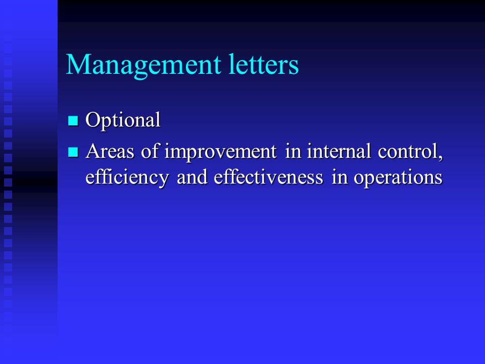 Management letters Optional