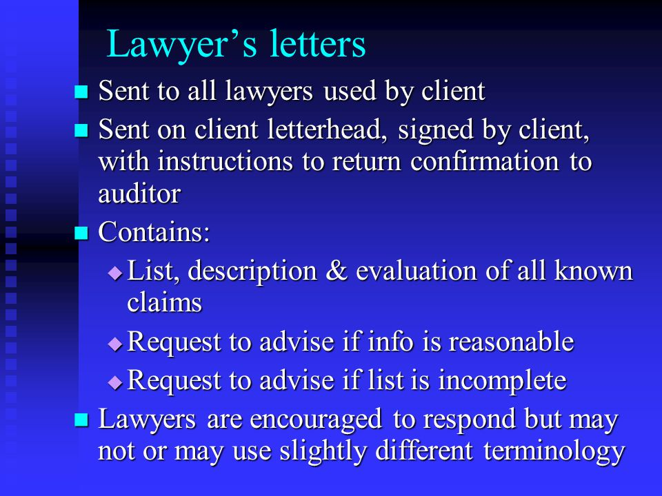 Lawyer's letters Sent to all lawyers used by client