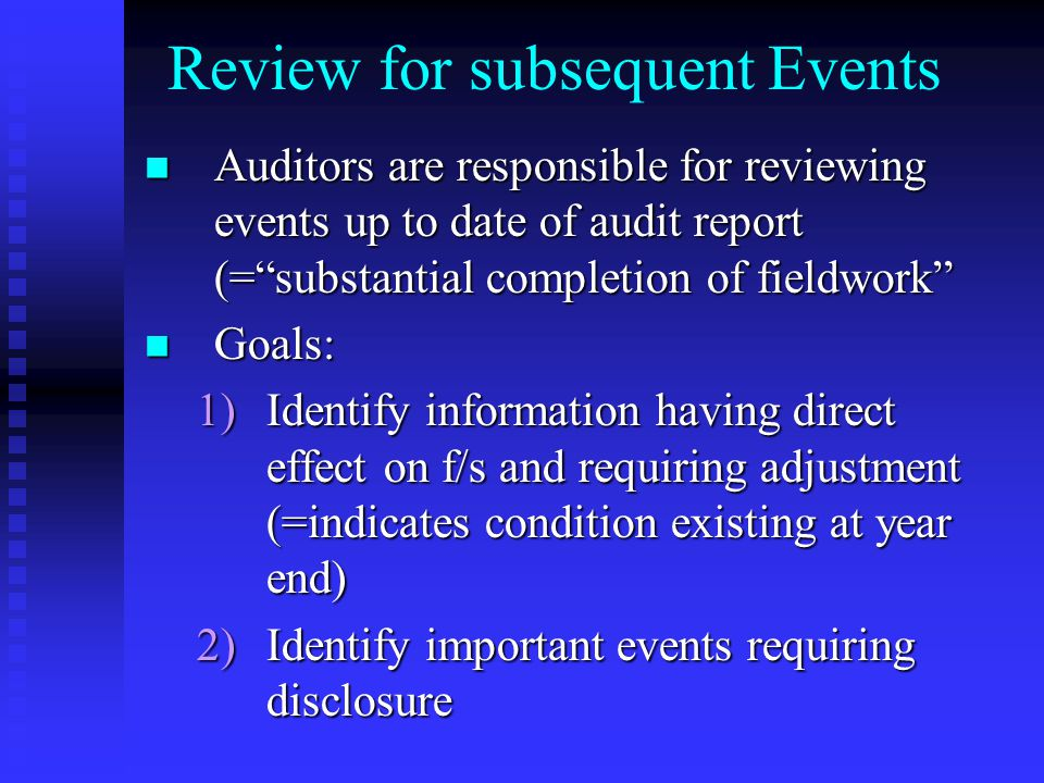 Review for subsequent Events