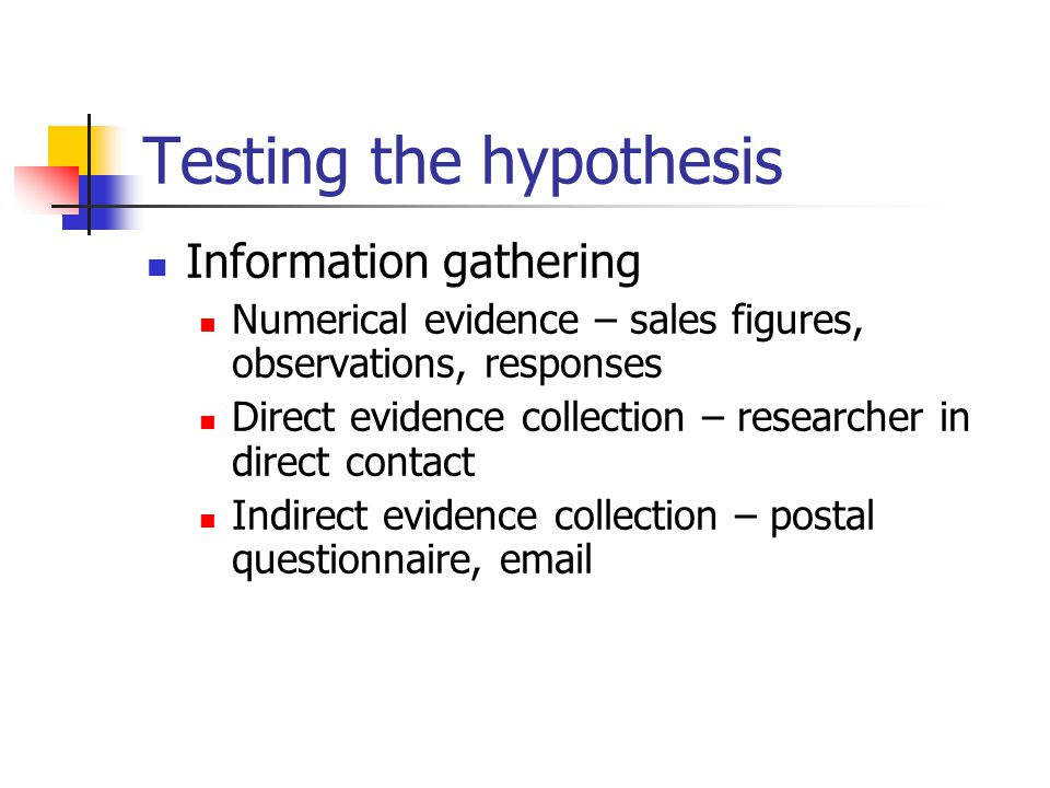 Testing the hypothesis