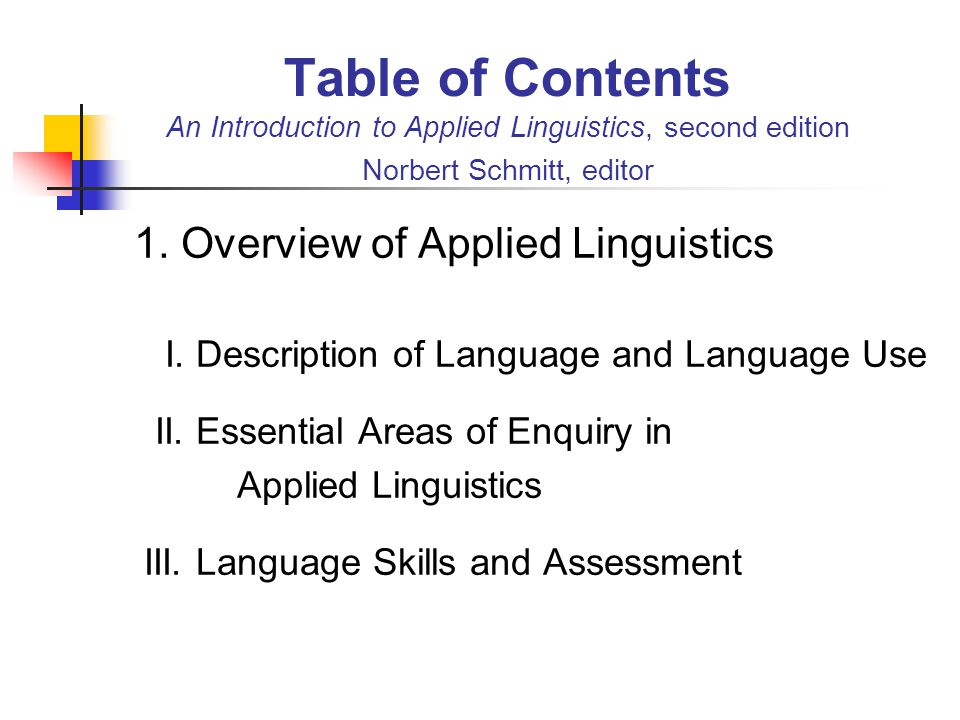 Table of Contents An Introduction to Applied Linguistics, second edition Norbert Schmitt, editor