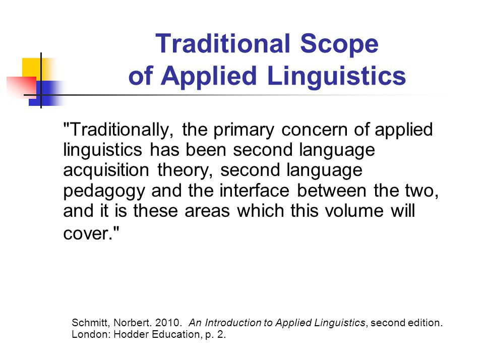 Traditional Scope of Applied Linguistics