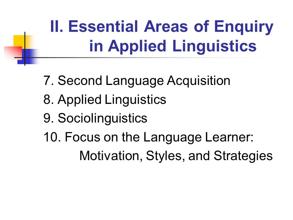II. Essential Areas of Enquiry in Applied Linguistics