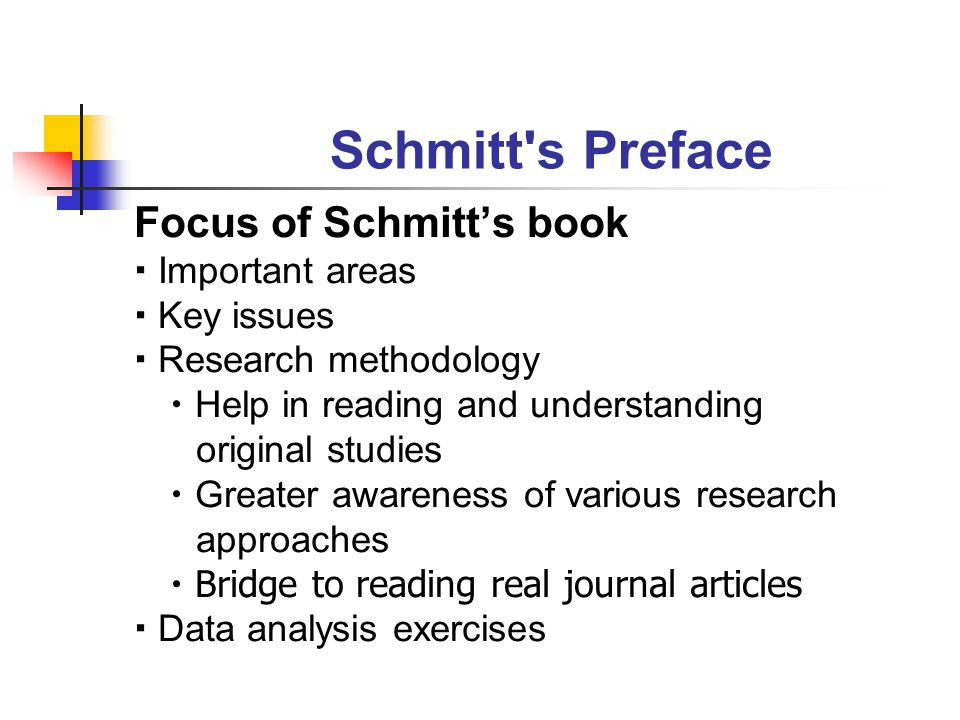 Schmitt s Preface Focus of Schmitt's book  Important areas