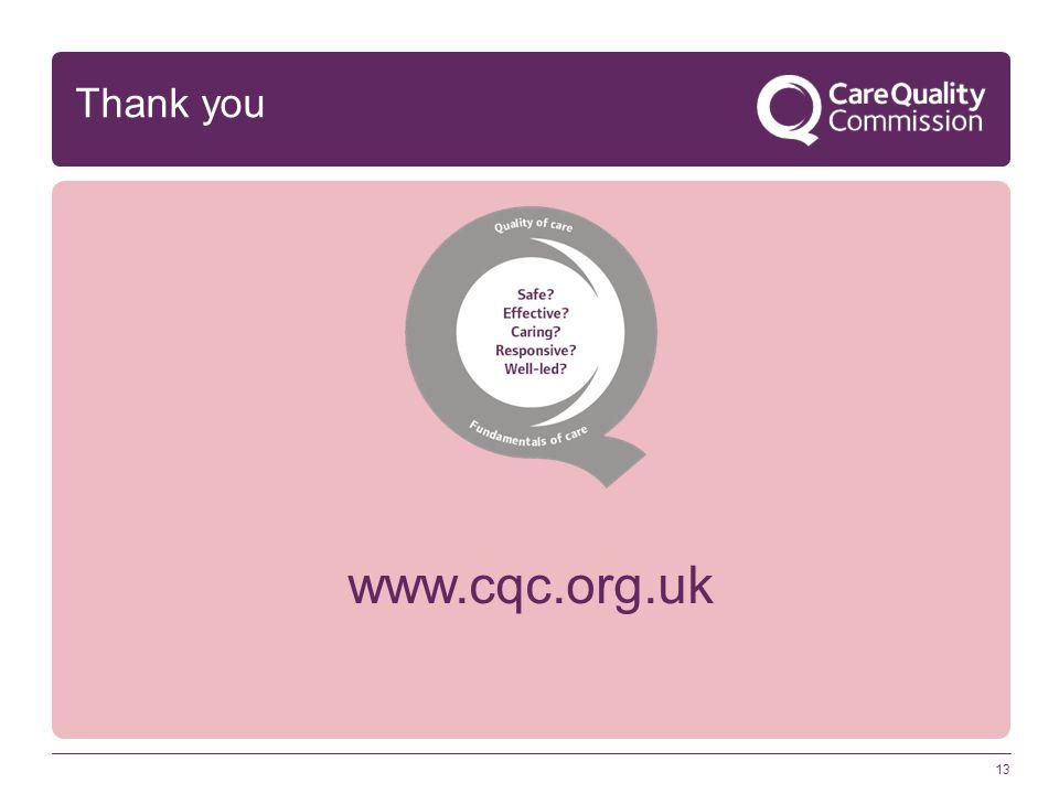 Thank you www.cqc.org.uk 13