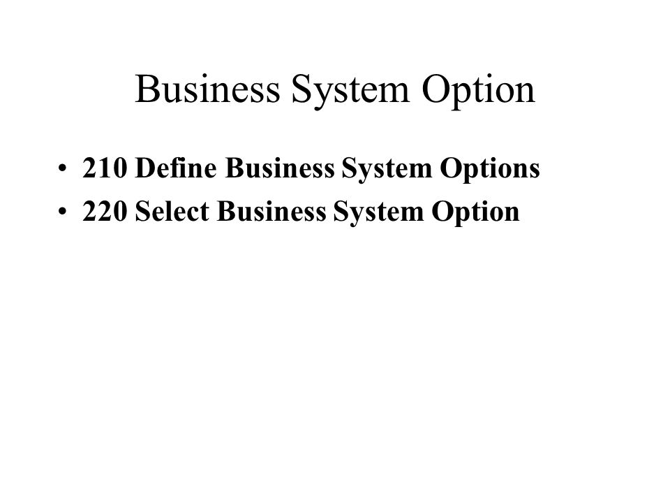 Business System Option