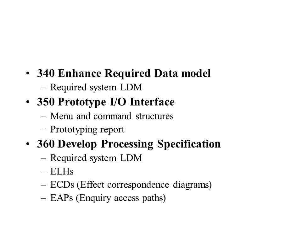 340 Enhance Required Data model 350 Prototype I/O Interface