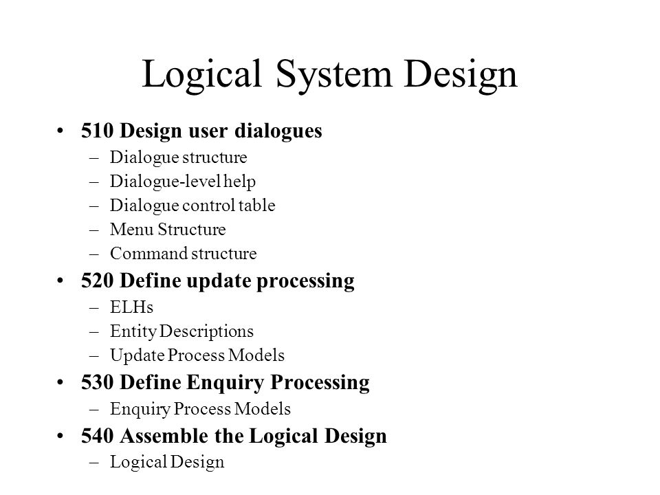 Logical System Design 510 Design user dialogues
