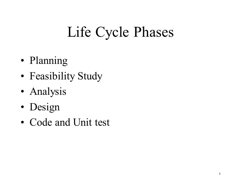 Life Cycle Phases Planning Feasibility Study Analysis Design