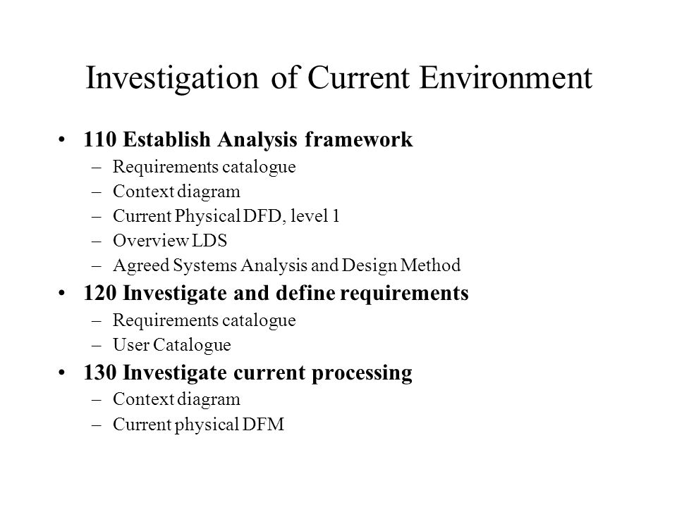 Investigation of Current Environment