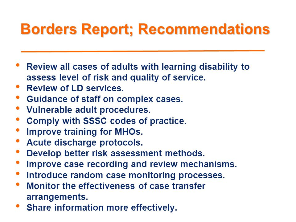 Borders Report; Recommendations