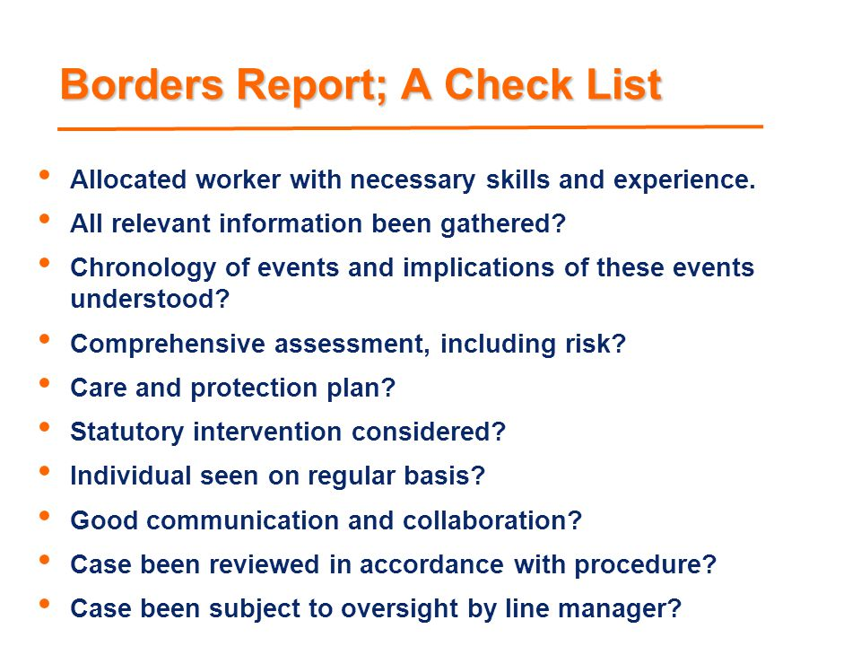 Borders Report; A Check List