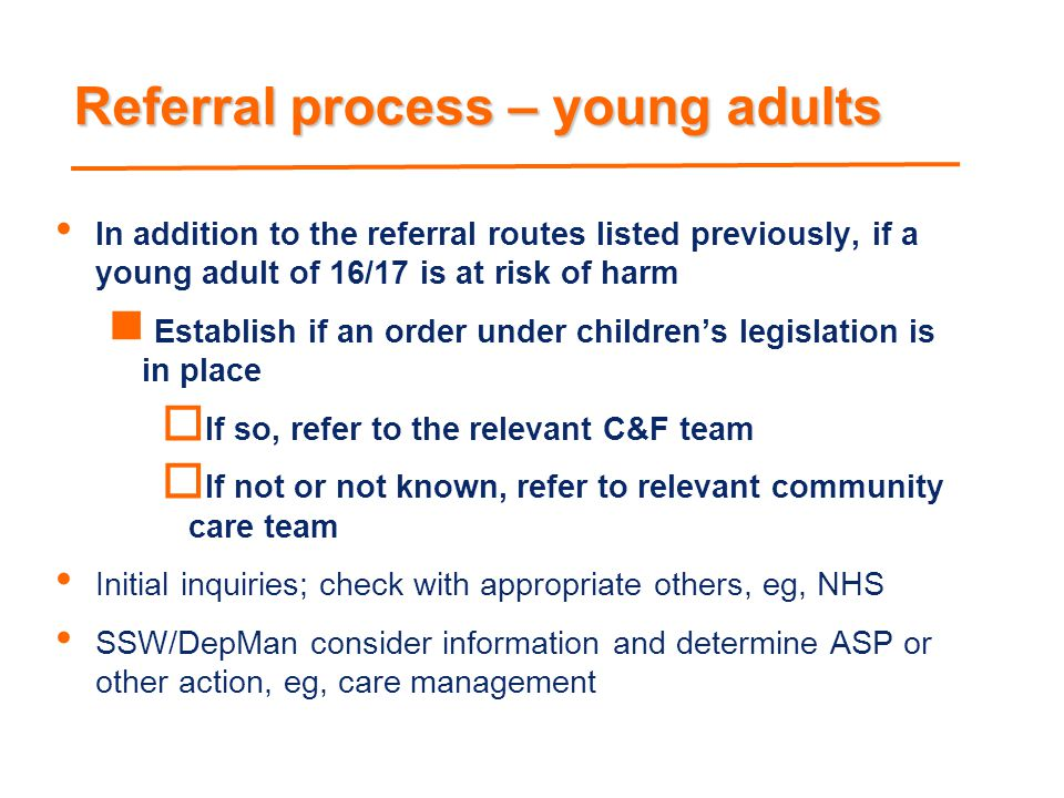 Referral process – young adults