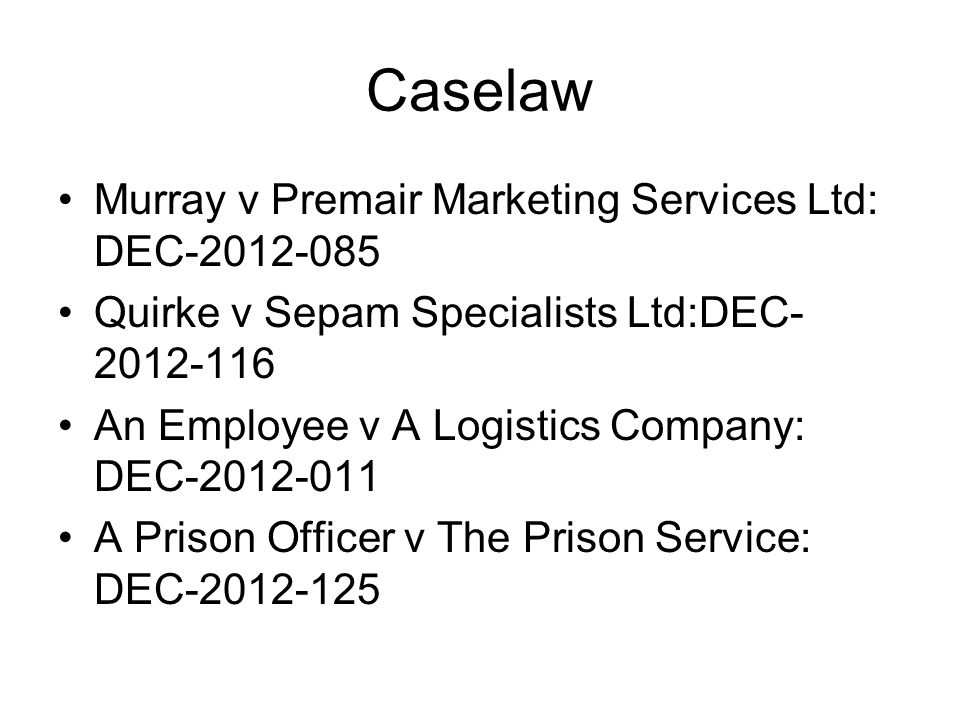 Caselaw Murray v Premair Marketing Services Ltd: DEC-2012-085