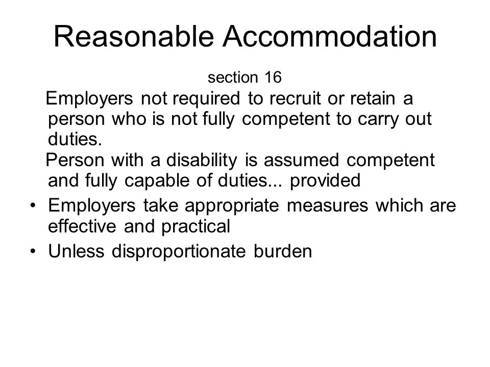 Reasonable Accommodation section 16