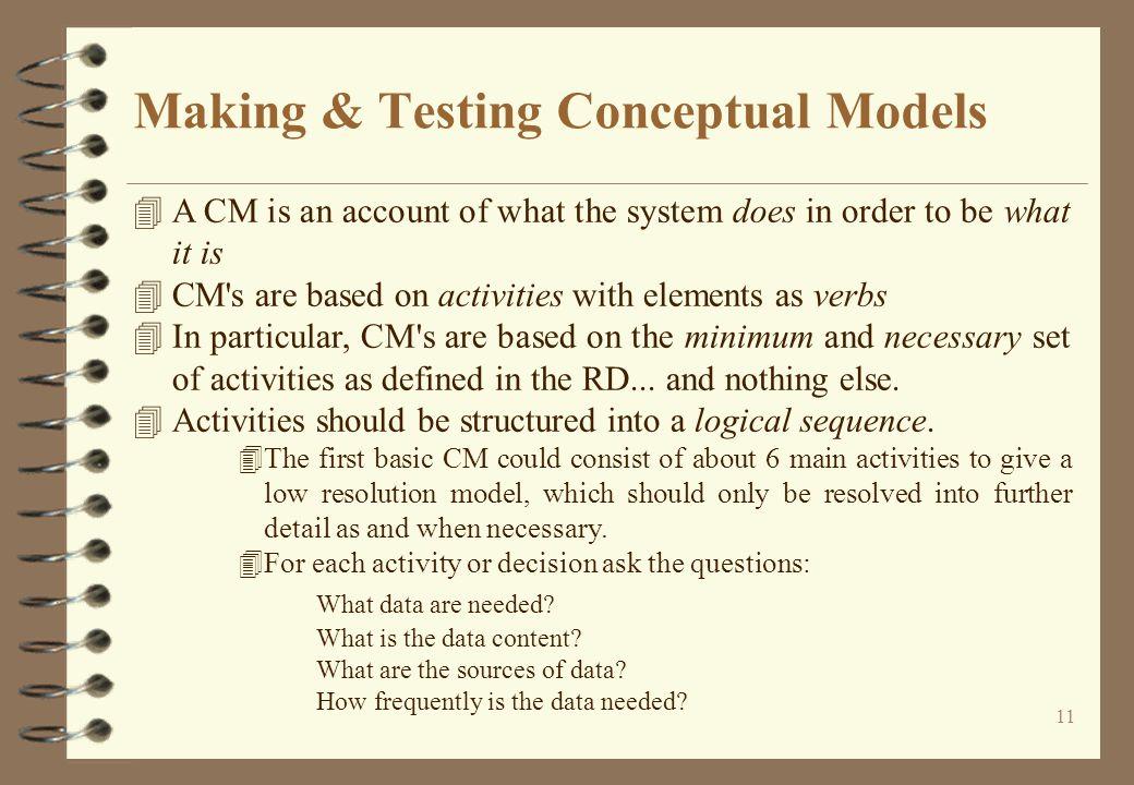 Making & Testing Conceptual Models